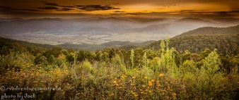 Sunset over a valley near Gloucester