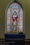 Stained glass in a church. Stroud