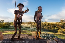 A sculpture in honour of Edward John Eyre explorer. Kimba SA
